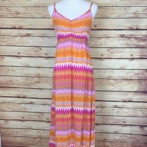 ☀️ Ali & Kris Chevron Maxi Dress Orange Pink Large